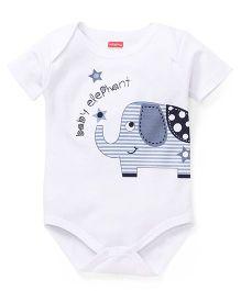 Babyhug Half Sleeves Onesie Elephant Print - White