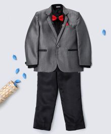 Pre Order - Prinz Tuxedo With Bow Tie Pant & Pocket Square - Grey