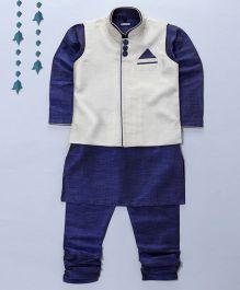 Pre Order - Prinz Contrast Nehru Jacket Kurta & Pajama With Pocket Square - Blue