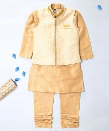 Pre Order - Prinz Jacquard Vest With Decorative Lace Kurta & Churidar - Golden