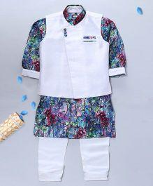 Pre Order - Prinz Over Lap Nehru Jacket Kurta & Payjama With Pocket Square - Multi Colour