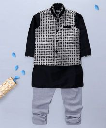 Pre Order - Prinz Jacquard Vest With Kurta & Churidar - Grey