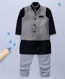 Pre Order - Prinz Jacquard Vest With Kurta & Churidar - Grey