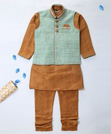 Pre Order - Prinz Over Lap Nehru Jacket Kurta & Payjama With Pocket Square - Brown