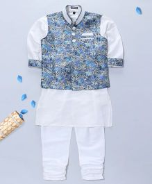 Pre Order - Prinz Vest Kurta & Churidar With Pocket Square - Blue & White