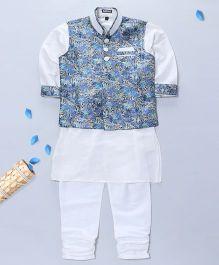 Pre Order - Prinz Vest Kurta & Churidar With Pocket Square - Blue & White