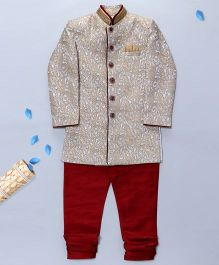 Pre Order - Prinz Indo Western Motif Sherwani With Pocket Square & Churidar - Golden & Red