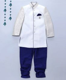 Pre Order - Prinz Jacquard Sherwani With Contrast Churidar & Pocket Square - White & Blue