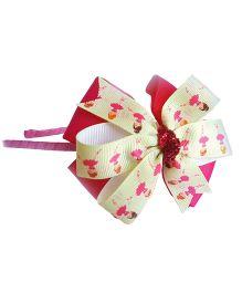 Reyas Accessories Girl Printed Bow Hairband - Pink & Sea Green