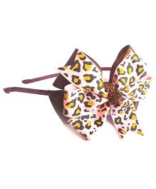 Reyas Accessories Leapord Print Bow Hair Band - Brown