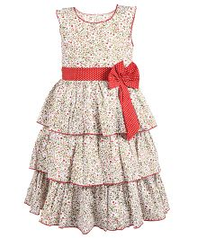 BunChi Frilled Printed Dress With Bow - White & Olive