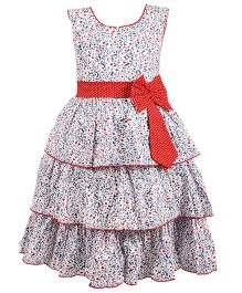 BunChi Frilled Printed Dress With Bow - White & Blue