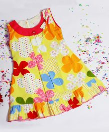 BunChi Floral Printed Dress With Bow At Neck Line - Yellow