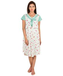 9teen Again Half Sleeves Maternity Nighty Floral Print - White Green