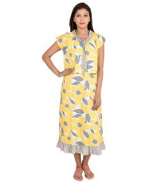 9teenAGAIN Half Sleeves Maternity Nighty Floral Print - Yellow
