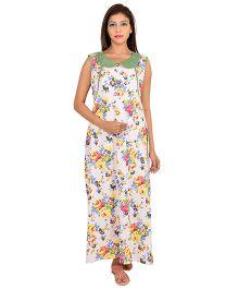 9teenAGAIN Sleeveless Maternity Nighty Floral Print - Pink Green