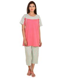 9teenAGAIN Half Sleeves Maternity Nursing Night Suit - Pink Green