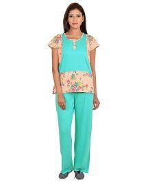 9teenAGAIN Short Sleeves Maternity Night Suit Floral Print - Green