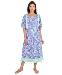 9teen Again Half Sleeves Maternity Nighty Floral Print - Blue