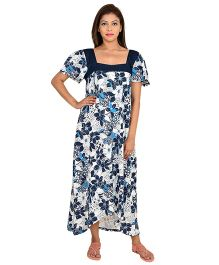 9teenAGAIN Half Sleeves Floral Printed Nursing Nighty - Navy