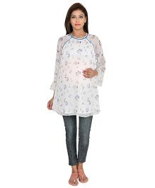 9teenAGAIN Three Fourth Sleeves Floral Print Maternity Top - White