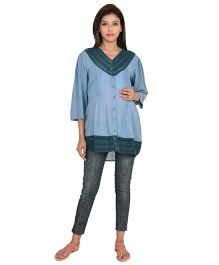 9teenAGAIN Three Fourth Sleeves Laced Maternity Top - Blue