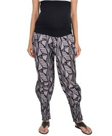 9teenAGAIN Maternity Sheered Printed Trouser - Black