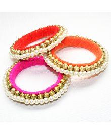 Asthetika Pearl & Rose Set Of 3 Bangles - Pink Orange & Red