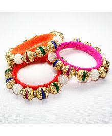 Asthetika Pompom & Pearl Set Of 3 Bangles - Pink Orange & Red