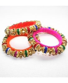 Asthetika Pompom Ghungroo Set Of 3 Bangles - Pink Orange & Red