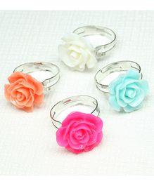Asthetika Attractive Set Of 4 Rose Rings - Orange Blue & Pink