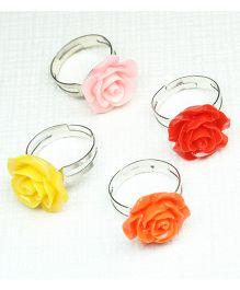 Asthetika Gorgeous Set Of 4 Rose Rings - Yellow Pink Red & Orange