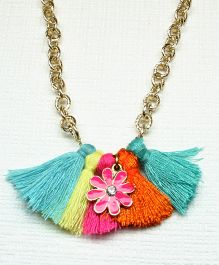 Asthetika Flower Tassel Chain Necklace - Multicolour