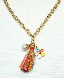 Asthetika Flower & Tassel Pearl Chain Necklace - Multicolour