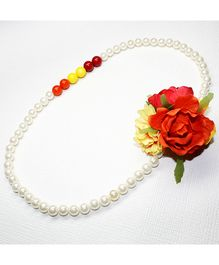 Asthetika Flowers With Colourful Pearl Necklace - Red & Yellow