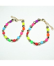 Asthetika Mini Flowers Pair Of Anklets - Multicolour