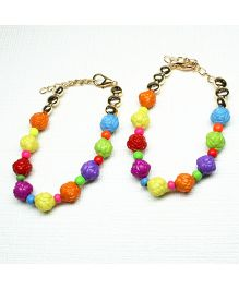 Asthetika Beautiful Rose Flower Pair Of Anklets - Multicolour