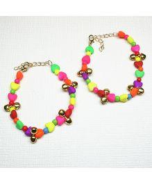 Asthetika Heart & Ghungroo Pair Of Anklets - Multicolour