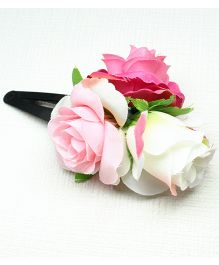 Asthetika Tic Tac Rose Flower Hair Clip - Pink & White