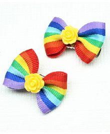 Asthetika Flower Mini Bow Set Of 2 Aligator Hair Clips - Multicolour