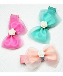 Asthetika Bow & Rose Set Of 3 Alligator Hair Clips - Pink Peach & Sea Green