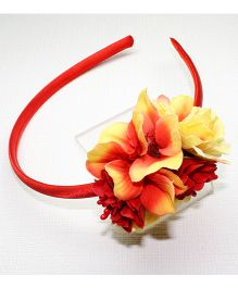 Asthetika Flower Bunch Soft Hair Band - Red & Yellow
