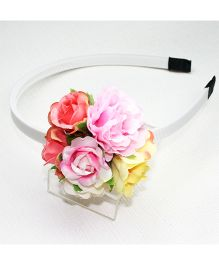 Asthetika Roses Bunch Hair Band - Pink Yellow & Peach