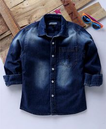 Tonyboy Full Sleeves Casual Anchor Embroidered Denim Shirt - Dark Blue