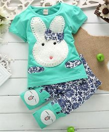 Lil Mantra Rabbit Applique Top With Printed Bottom Set - Green
