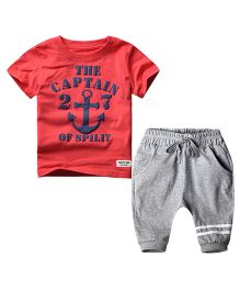 Lil Mantra Anchor Print Captain T-Shirt & Bottom Set - Red