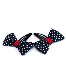 Pigtails & Ponys Sailor Polka Dots Bow Hair Clips - Red & Blue