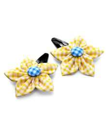Pigtails & Ponys Gingham Flower Clips - Yellow