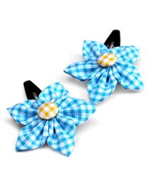 Pigtails & Ponys Gingham Flower Clips - Blue