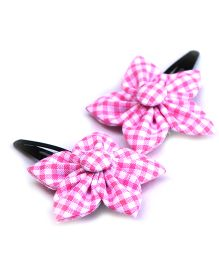 Pigtails & Ponys Gingham Flower Clips - Pink